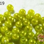 ลูกปัดมุก พลาสติก สีเขียวมะนาว 6 มิล 1 ขีด