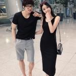 +พร้อมส่ง+ เสื้อคู่รักเกาหลี แฟชั่นคู่รัก ชายเสื้อยืดสีดำ + หญิงเดรสยาวแขนกุดสีดำ