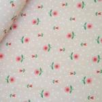ผ้าคอตตอน ญี่ปุ่น ลายดอกทิวลิป น่ารัก โทนชมพูอ่อน