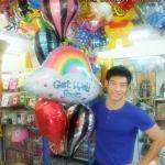"""Set#28 ช่อลูกโป่งฟอลย์ Get Well Soon เยี่ยมไข้ (แบรนด์ Anagram)+ฟอลย์ Hot Air Balloons 3 ใบ+ฟอลย์หัวใจ 18"""""""