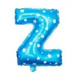 """ลูกโป่งฟอยล์รูปตัวอักษร Z สีฟ้าพิมพ์ลายดาว ไซส์เล็ก 14 นิ้ว - Z Letter Shape Foil Balloon Size 14"""" Blue color printing Star"""