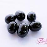 ลูกปัดแก้วมูราโน่ ไม่มีรู ทรงไข่ สีดำ 11x14 มิล(1ชิ้น)
