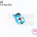 ลูกปัดกังไส นกฮูก สีฟ้า 10X14มิล(1ชิ้น)