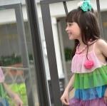 เสื้อผ้าเด็ก ชุดเดรสเด็กผู้หญิง ผ้าชีฟอง สีสายรุ้ง