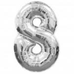 """ลูกโป่งฟอยล์รูปตัวเลข 8 สีเงิน ไซส์เล็ก 14 นิ้ว - Number 8 Shape Foil Balloon Size 14"""" Silver Color"""