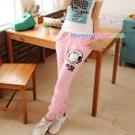 กางเกงคลุมท้อง ขายาว สกีนลายโอลีฟ : สีชมพู รหัส PN113