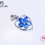 ตัวแต่งโรเดียม จี้ลูกปัด ตกแต่งสร้อยหินนำโชค รูปหัวใจล้อมเพชร สีน้ำเงิน ขนาด 13x22 มิล