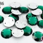 เพชรแต่ง กลม สีเขียวเข้ม มีรู 14มิล(20ชิ้น)