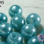ลูกปัดมุก พลาสติก สีฟ้า 14 มิล (1ขีด/100กรัม)