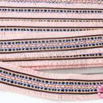 ผ้าแถบลายชนเผ่า สีโอรส กว้าง 4.5ซม(1หลา/90ซม)