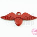 จี้โรเดียม หัวใจมีปีก สีแดง 25 มิล