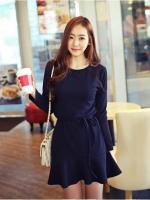 ชุดเดรสสไตล์เกาหลีสีน้ำเงิน