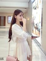 เดรส/เสื้อตัวยาวปกเชิ๊ตสไตล์พร็อพ เกาหลี สีขาว