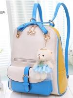 กระเป๋าเป้สะพายแฟนซี สีสดใสแต่งสีขาว-เหลือง-ฟ้า