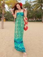 พร้อมส่ง Maxi dress ชุดเดรสยาว ลายโบฮีเมียนโทนเขียว-ฟ้า สายคล้องคอสวยเก๋
