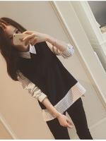 เสื้อแฟชั่นเกาหลี เย็บแต่งแบบเสื้อ2ชั้น สีตามรูป เนื้อผ้า cotton