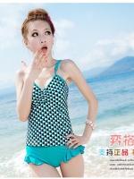พร้อมส่ง ชุดว่ายน้ำ Tankini สายเดี่ยว เสื้อโทนสีเขียวแต้มลายจุดดำขาว กางเกงขอบแต่งระบายน่ารัก