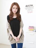 เสื้อแฟชั่นเกาหลี ทรงค้างคาวเก๋ ๆ ตัดต่อผ้า 2 ชิ้น โทนสีดำ-น้ำตาล