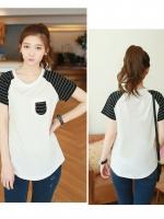 เสื้อแฟชั่นเกาหลี เสื้อยืดพิมพ์ลายช่วงแขนเสื้อและอก สีขาว