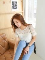 เสื้อแฟชั่นเกาหลี ช่วงไหล่และแขนตัดเย็บตกแต้งด้วยลูกไม้แก้วลายสวย สีขาว