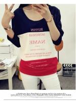 เสื้อแฟชั่นเกาหลี แขนยาว สีทูโทน น้ำเงิน-แดง เนื้อผ้า cotton