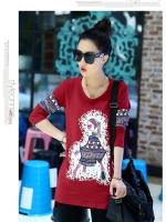 เสื้อแฟชั่นเกาหลีพิมพ์ลายด้านหน้าและแขนเสื้อเก๋ ๆ ตามรูป สีแดงเข้ม เนื้อผ้า cotton