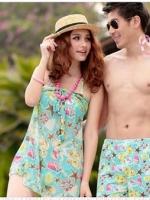 พร้อมส่ง ชุดว่ายน้ำคู่รัก ชุดว่ายน้ำบิกินี่ทูพีซ ลายสัตว์ทะเล พร้อมชุดแซกคลุมผ้าซีทรูสวย