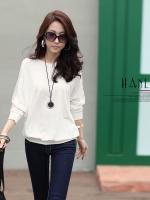 เสื้อแฟชั่นเกาหลี ทรงหลวมทรงค้างคาว สีขาว