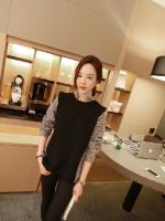 เสื้อแฟชั่นเกาหลีแขนยาว ตัดเย็บด้านหน้าหลังสีทูโทนดำ+ลายตาราง เก๋ ๆ