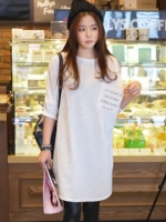 เสื้อกึ่งเดรสยาวสีขาว