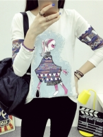 เสื้อแฟชั่นเกาหลีพิมพ์ลายด้านหน้าและแขนเสื้อเก๋ ๆ ตามรูป สีขาว