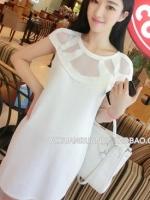เดรสแฟชั่นเกาหลี สีขาว ผ้าชีฟองทึบแต่งด้วยผ้าซีทรู