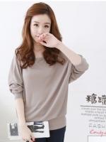 เสื้อแฟชั่นเกาหลี แขนสี่ส่วนทรงค้างคาว สีกาแฟ