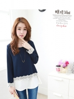 เสื้อแฟชั่นเกาหลีแขนยาว ติดลูกไม้หรู สีน้ำเงิน