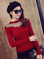 เสื้อแขนยาวผ้ายืดสีแดง