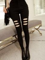 กางเกงผ้ายืดขายาวสีดำ