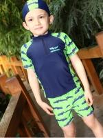 พร้อมส่ง M,L,XL,2XL ชุดว่ายน้ำเด็กชาย แยกเสื้อ กางเกง โทนสีเขียว