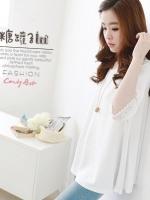 เสื้อแฟชั่นเกาหลีทรงหลวม สีขาว
