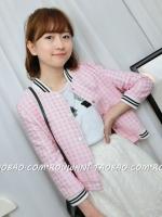 เสื้อกันหนาวผู้หญิงสีชมพู