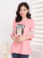 เสื้อสีชมพูลายนกฮูก