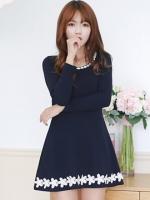 ชุดเดรสสีน้ำเงินสไตล์เกาหลี