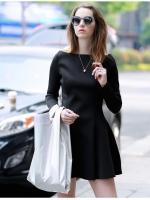 ชุดเดรสสีดำผ้ายืด
