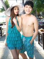PRE ชุดว่ายน้ำคู่รัก ชุดว่ายน้ำทรงแซกแต่งลายสวยสีฟ้าน้ำทะเล ด้านหน้าแต่งระบายเป็นชั้นๆ กางเกงแยกชิ้น