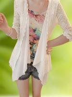 เสื้อคลุมทรงสูท ชีฟองตัดต่อผ้าเวตเตอร์ถัก สีขาวมุก