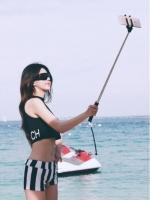 พร้อมส่ง ชุดว่ายน้ำ เสื้อครอปสีดำหลังสกรีนอักษรสวยเก๋ กางเกงลายทางสีขาวสลับดำ