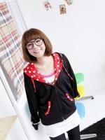 เสื้อคลุมแฟชั่นเกาหลี มีฮู๊ดติดหูกระต่ายน่ารัก ๆ สีดำ