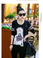 เสื้อแฟชั่นเกาหลีพิมพ์ลายด้านหน้าและแขนเสื้อเก๋ ๆ ตามรูป สีดำ