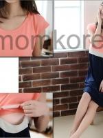 MK428 ชุดเดรสเปิดให้นมแฟชั่นเกาหลี โทนสีชมพูท่อนบน ท่อนล่างเป็นกระโปรงกรม