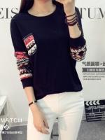 เสื้อแฟชั่นเกาหลี แขนยาว เย็บแต้งหน้าหลังสีทูโทน ช่วงแขนเสื้อเย็บแต่งลายเก๋ ๆ