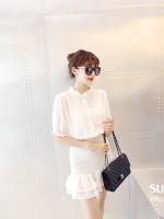 เดรสแฟชั่นเกาหลี ช่วงคอเสื้อคอจีน ช่วงกระโปรงทรงเข้ารูปสวยเก๋ สีขาว